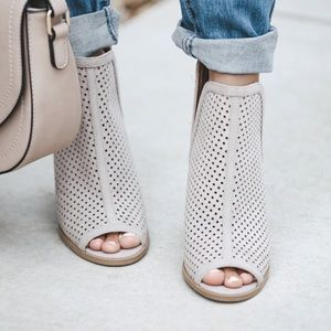 Shoes - Taupe Peep Toe Booties